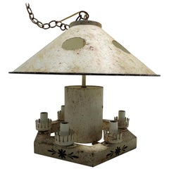 French Tole Metal Chandelier, Mid-20th Century