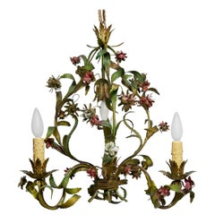 French Tole Painted Floral Chandelier Light Fixture