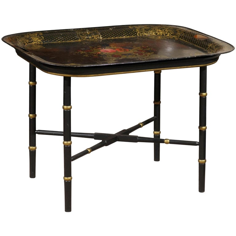 French Tole Tray Table with Flower Basket Design, 19th Century For Sale