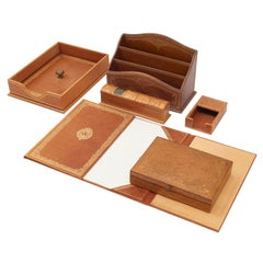 French Tooled Leather Desk Set of Six Pieces with Gilt Detailing, circa 1960