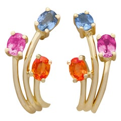 French Topaz, Sapphire and Yellow Gold Stud Earrings