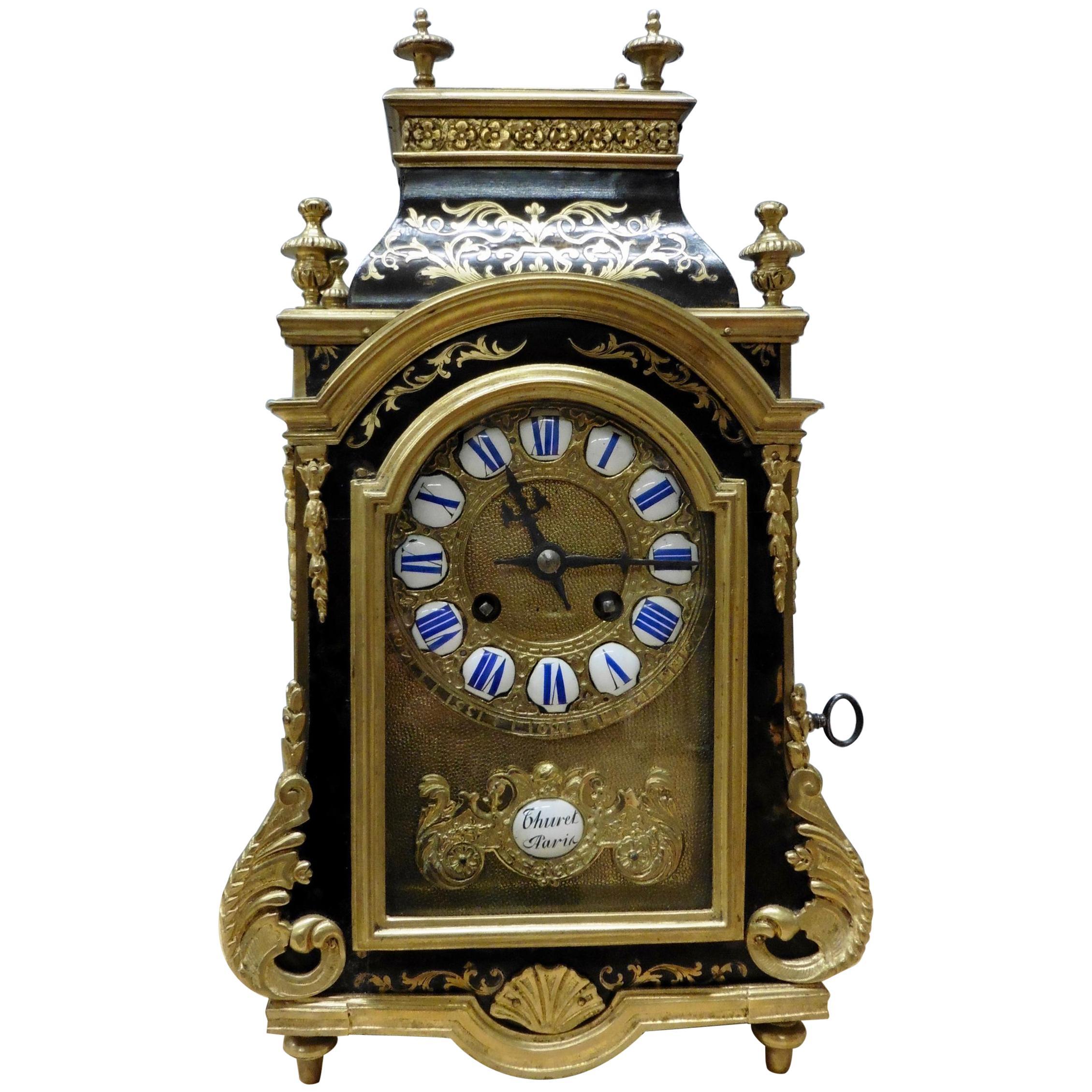 French Tortoiseshell Boulle Clock by Thuret, Paris
