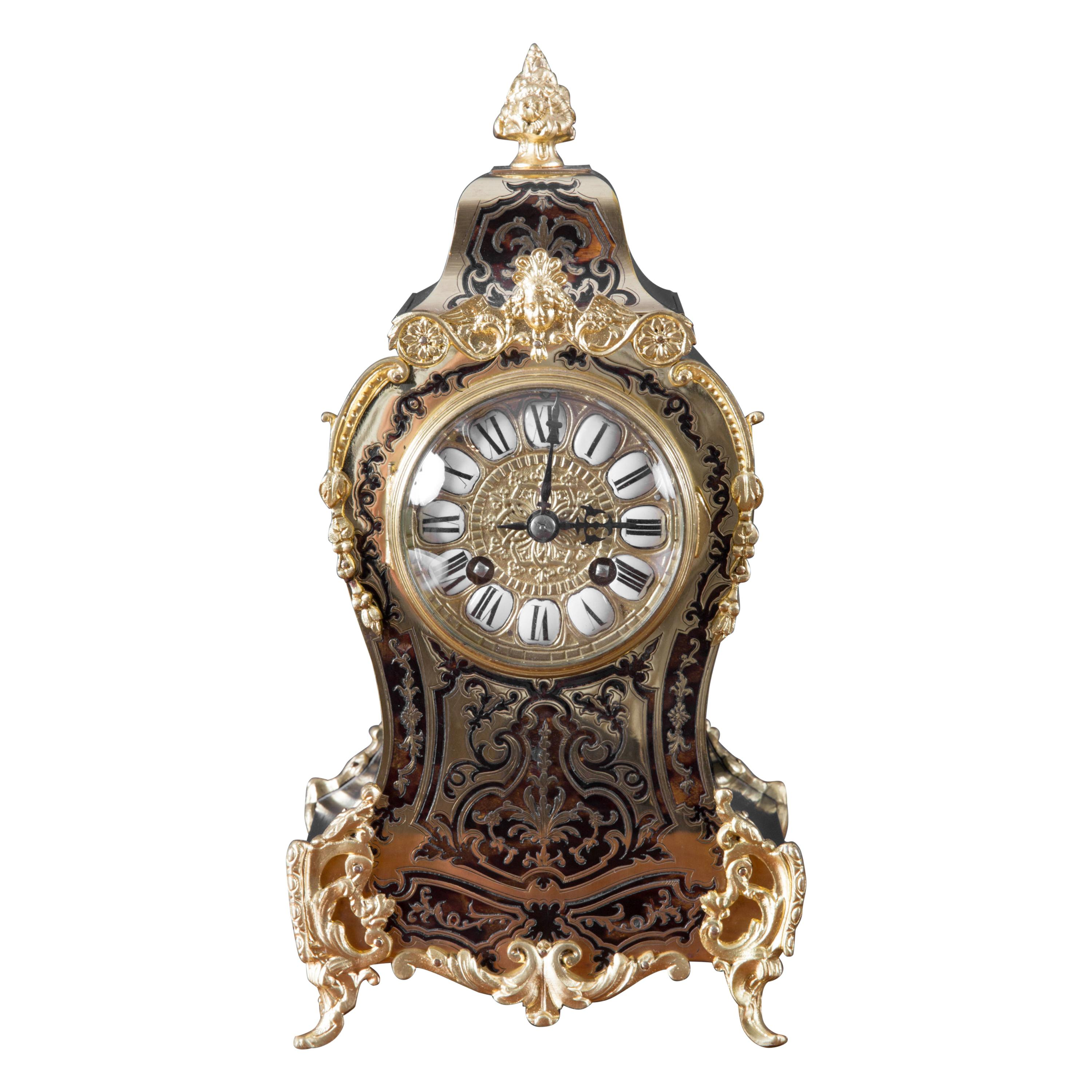 French Tortoiseshell Boulle Clock