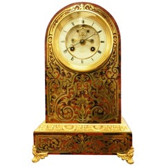 French Tortoiseshell Boulle Mantel Clock by Roskell, Paris
