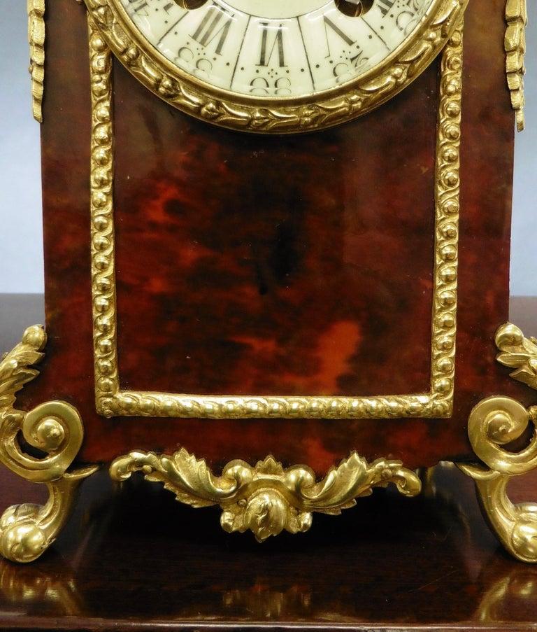 French Tortoiseshell Boulle Mantel Clock For Sale 4