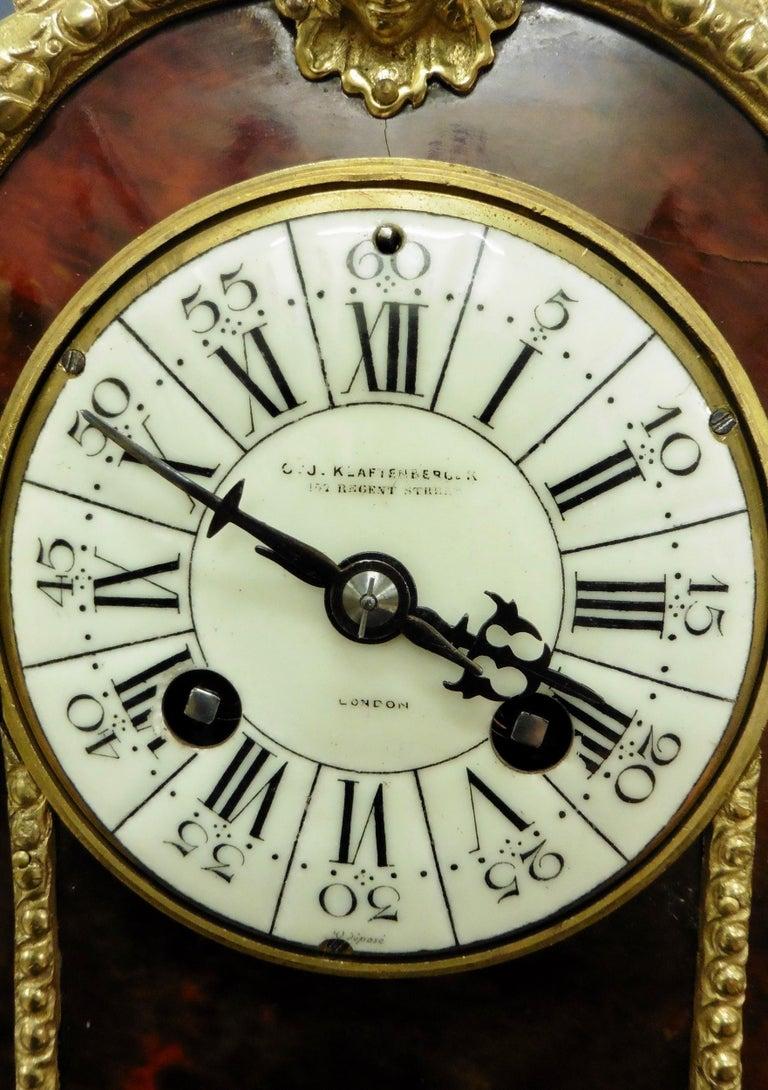 French Tortoiseshell Boulle Mantel Clock For Sale 5