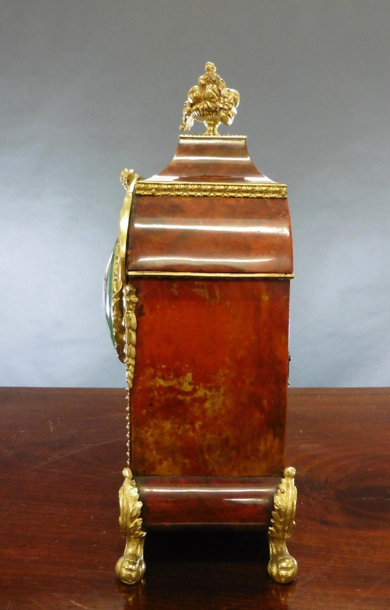 Victorian French Tortoiseshell Boulle Mantel Clock For Sale