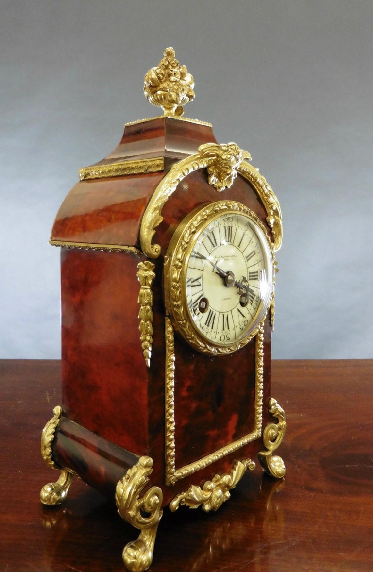 French Tortoiseshell Boulle Mantel Clock In Good Condition For Sale In Norwich, GB