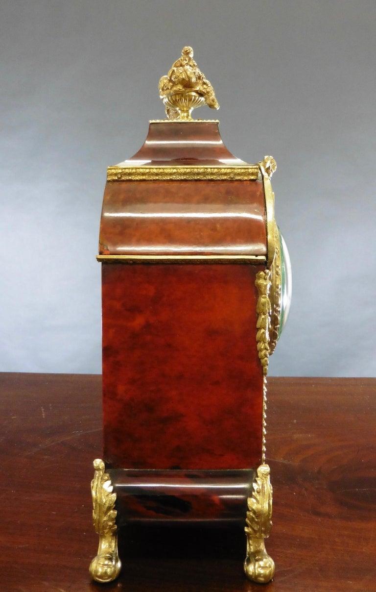 19th Century French Tortoiseshell Boulle Mantel Clock For Sale