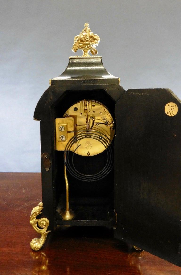 French Tortoiseshell Boulle Mantel Clock For Sale 1