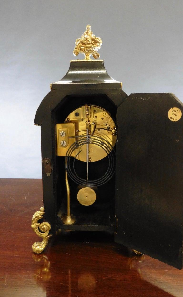 French Tortoiseshell Boulle Mantel Clock For Sale 2
