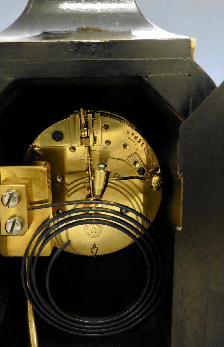 French Tortoiseshell Boulle Mantel Clock For Sale 3