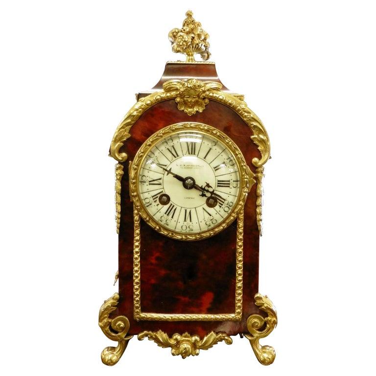 French Tortoiseshell Boulle Mantel Clock For Sale