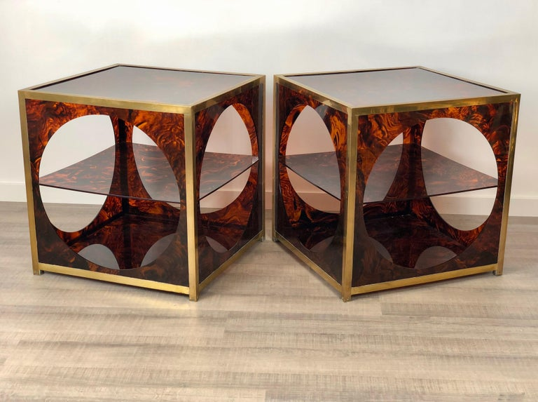 Mid-Century Modern French Tortoiseshell Brass Coffee Side Tables in Christian Dior Style, 1970s For Sale