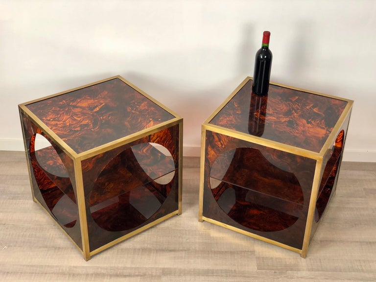 French Tortoiseshell Brass Coffee Side Tables in Christian Dior Style, 1970s In Good Condition For Sale In Rome, IT