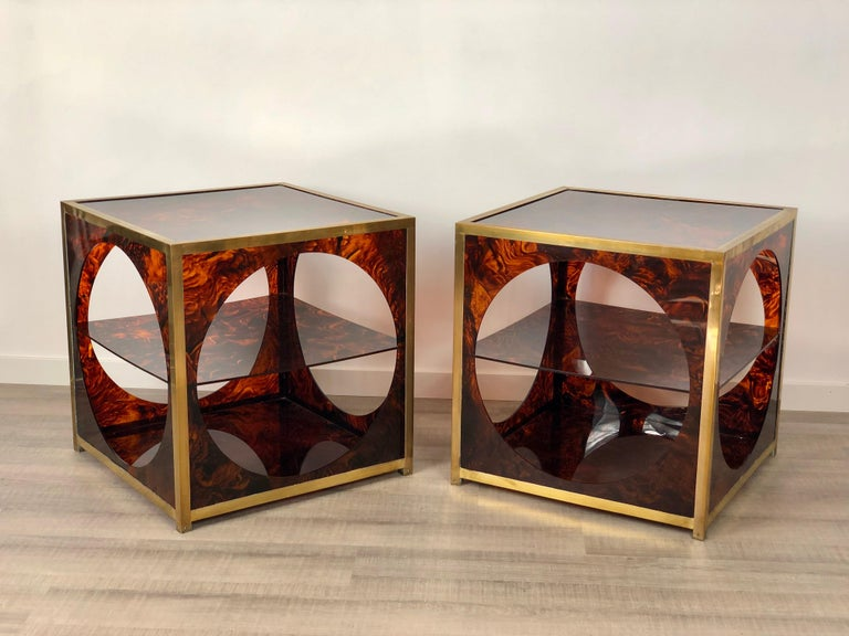 Late 20th Century French Tortoiseshell Brass Coffee Side Tables in Christian Dior Style, 1970s For Sale