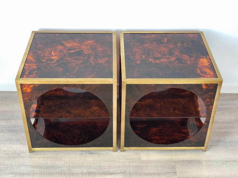 Lucite French Tortoiseshell Brass Coffee Side Tables in Christian Dior Style, 1970s For Sale