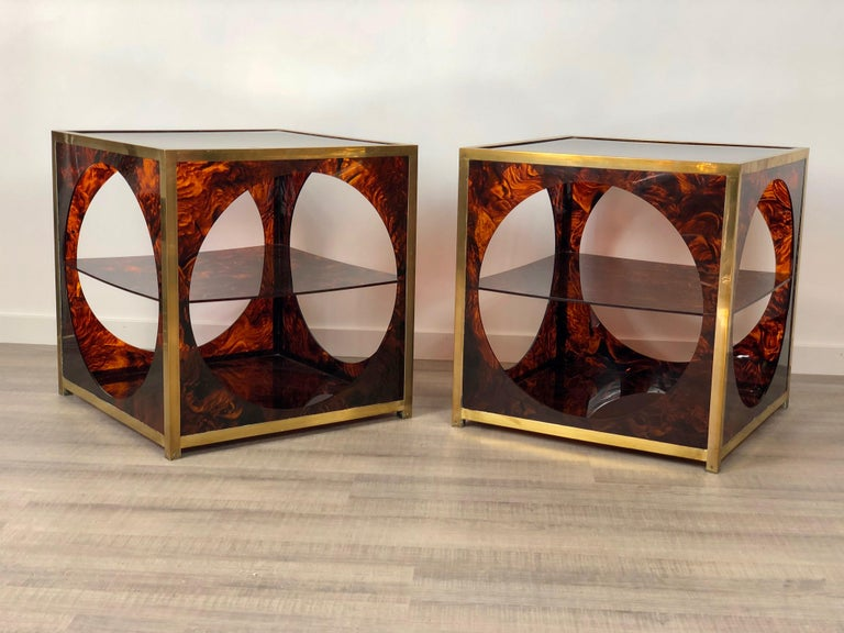 French Tortoiseshell Brass Coffee Side Tables in Christian Dior Style, 1970s For Sale 1