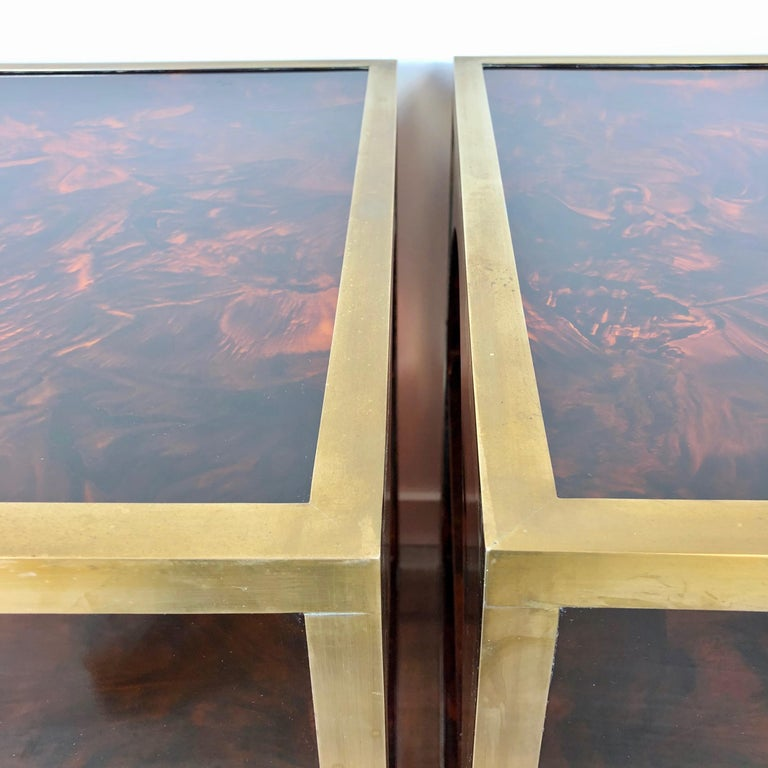 French Tortoiseshell Brass Coffee Side Tables in Christian Dior Style, 1970s For Sale 2