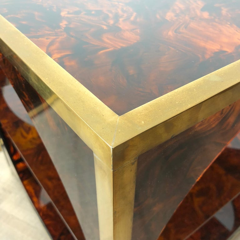 French Tortoiseshell Brass Coffee Side Tables in Christian Dior Style, 1970s For Sale 3