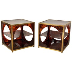 French Tortoiseshell Brass Coffee Side Tables in Christian Dior Style, 1970s