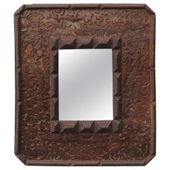 French Tramp Art Brown Wood Mirror with Scrollwork Design and Textured Accents