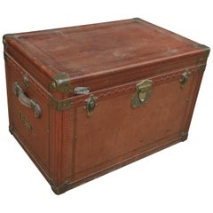 French Transatlantic Paris Traveling Trunk with 2 Inside Compartment, circa 1920