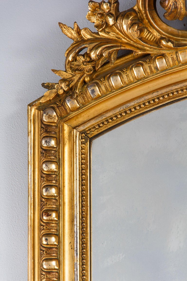 French Transition Louis XV to Louis XVI Gilded Mirror, Mid-1800s 5