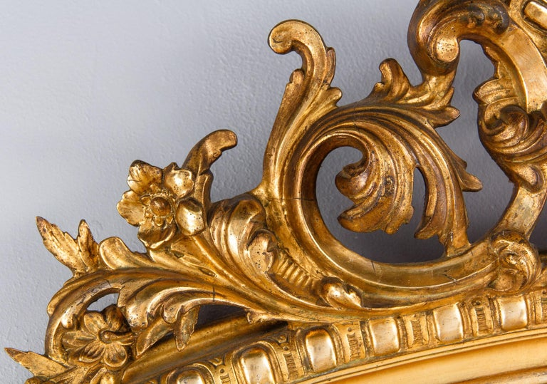 French Transition Louis XV to Louis XVI Gilded Mirror, Mid-1800s 6