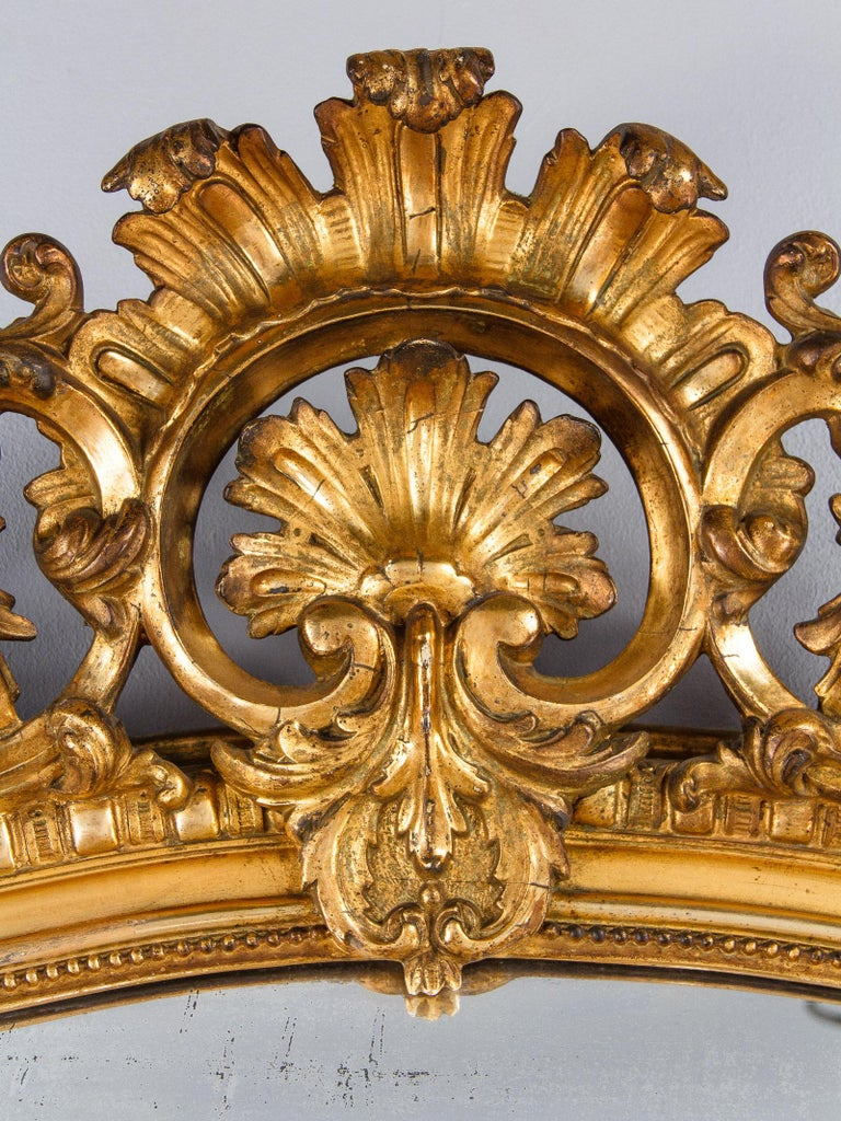 French Transition Louis XV to Louis XVI Gilded Mirror, Mid-1800s 7