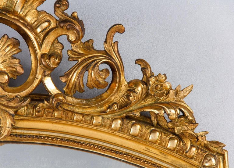 French Transition Louis XV to Louis XVI Gilded Mirror, Mid-1800s 8