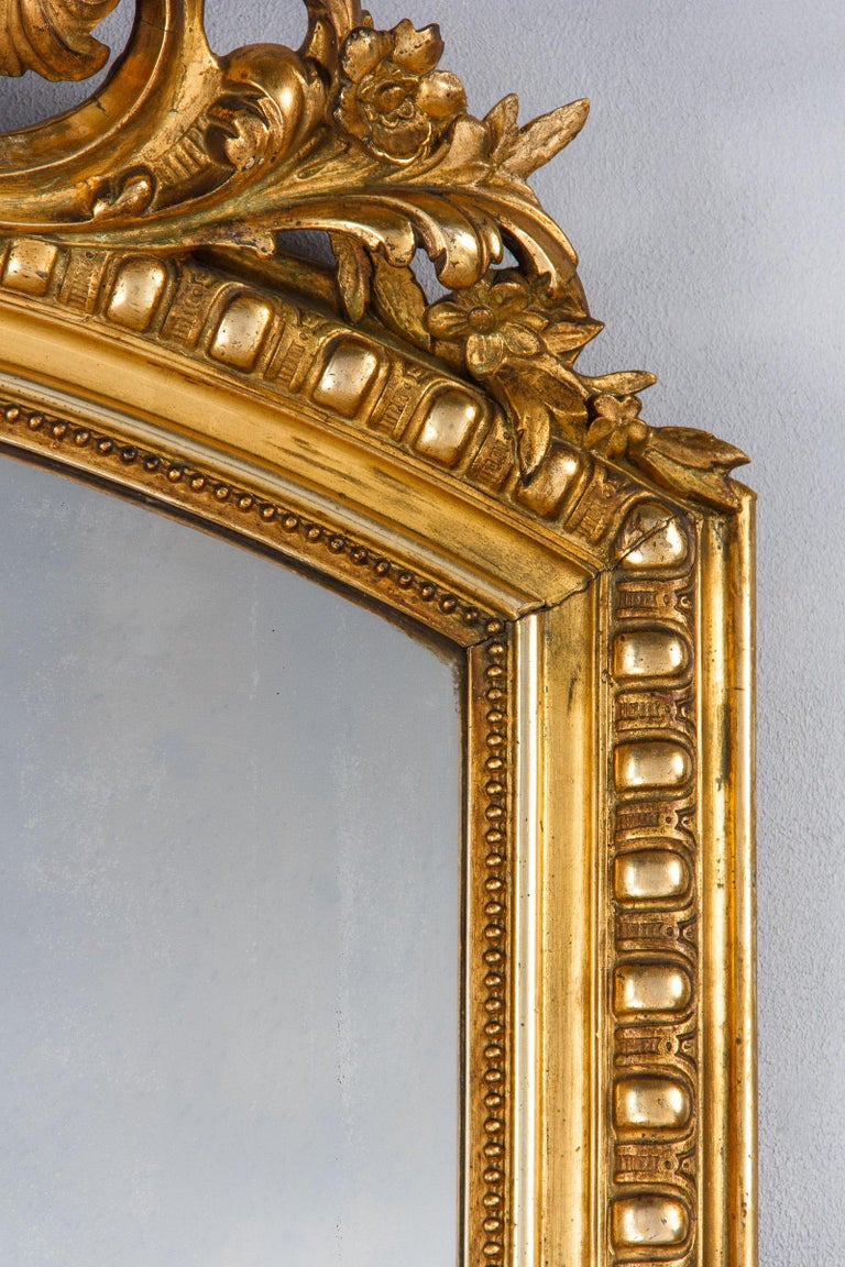 French Transition Louis XV to Louis XVI Gilded Mirror, Mid-1800s 9