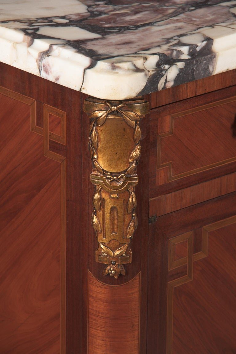 French Transition Style Marquetry Sideboard With Marble