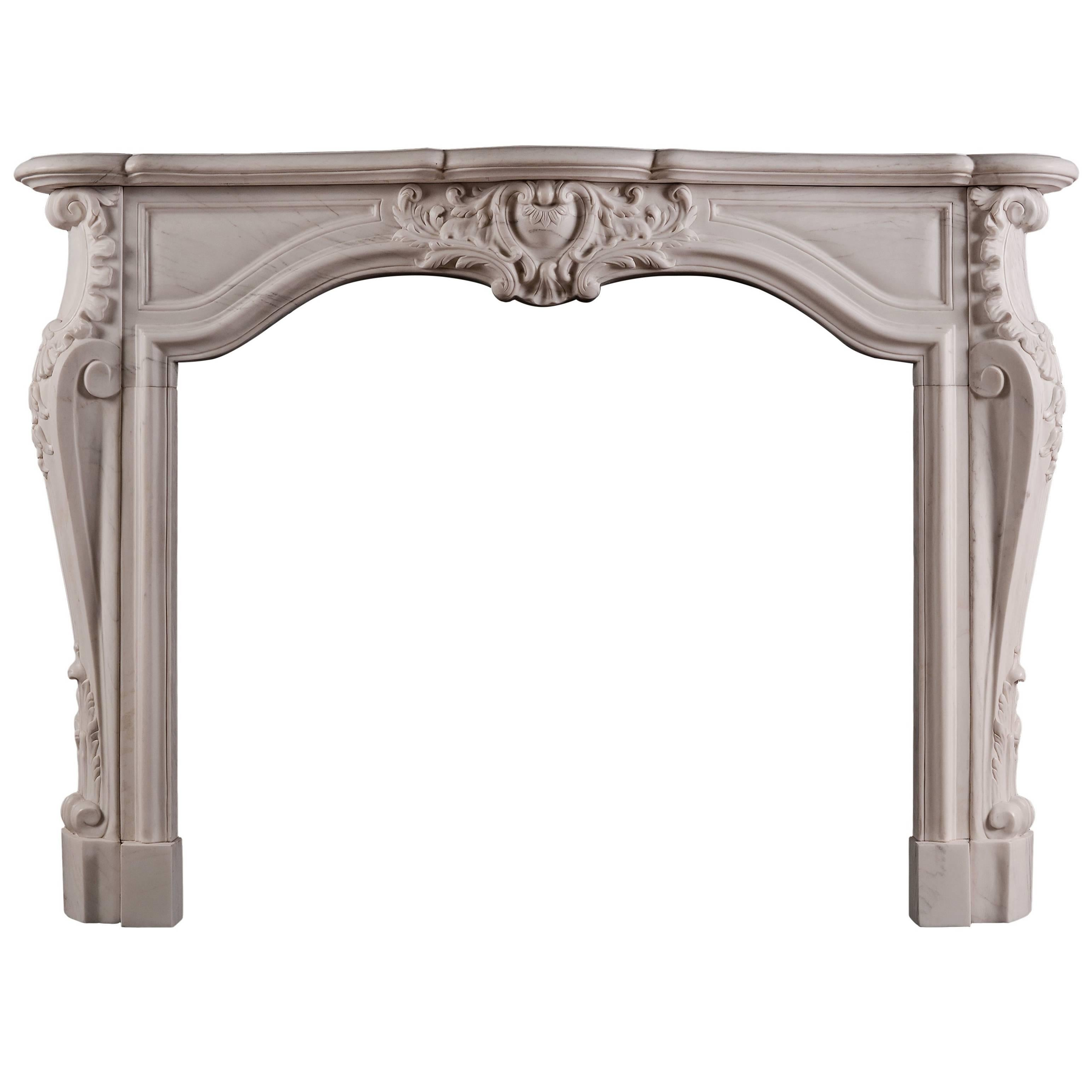 French Transitional Louis XIV/XV Marble Fireplace