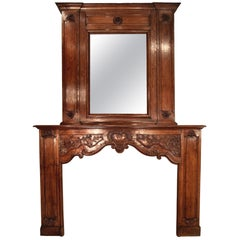 French Transitional Style Hand Carved Fire-Place Mantel