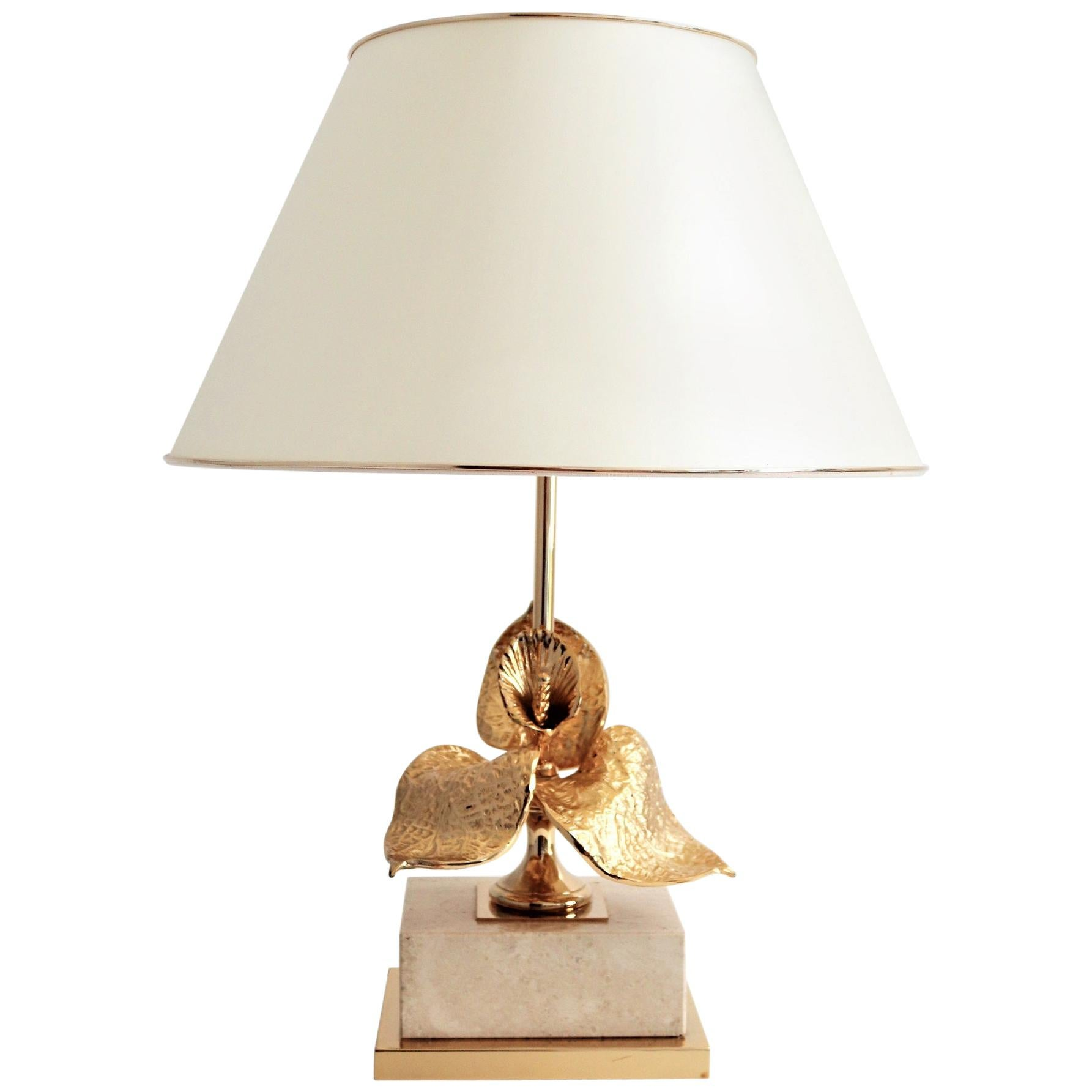 French Travertine and Gold-Plated Table Lamp, 1970s