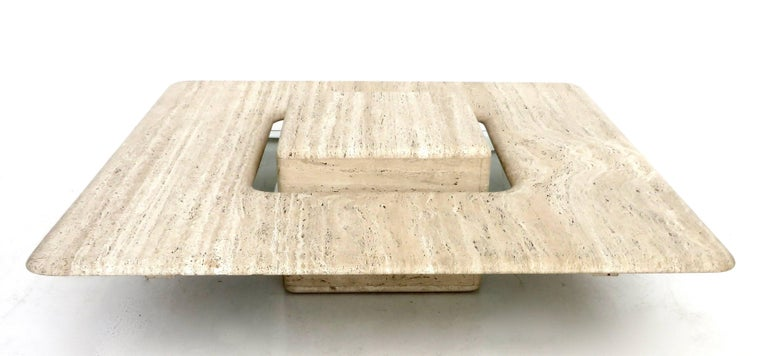 Mid-Century Modern French Travertine Minimalist Low Coffee Table with Floating Cube circa 1970 For Sale