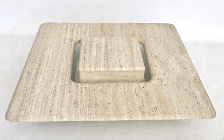 French Travertine Minimalist Low Coffee Table with Floating Cube circa 1970 In Excellent Condition For Sale In Chicago, IL