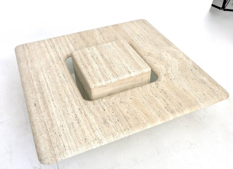 Glass French Travertine Minimalist Low Coffee Table with Floating Cube circa 1970 For Sale