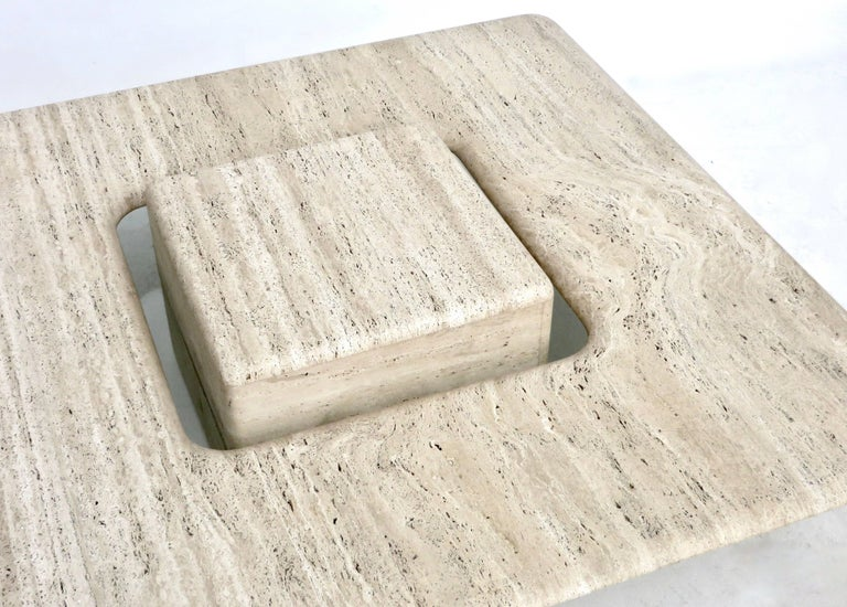 French Travertine Minimalist Low Coffee Table with Floating Cube circa 1970 For Sale 1