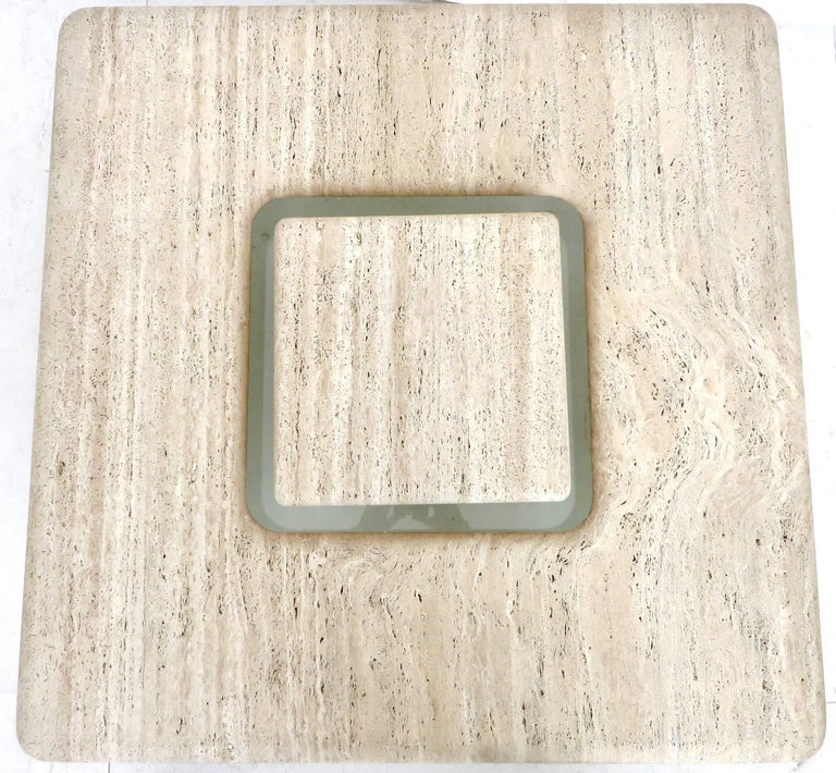French Travertine Minimalist Low Coffee Table with Floating Cube circa 1970 For Sale 3