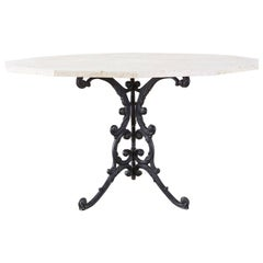 French Travertine Top Bistro Garden Dining Table