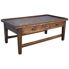 French Tray-Top Two-Drawer Pine Coffee Table