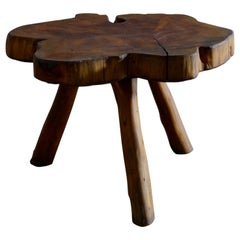 French Tree Trunk Free Form Wooden Coffee Table, 1960s