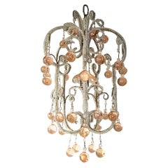 French Triple Beaded Pink Murano Balls Chandelier, circa 1920