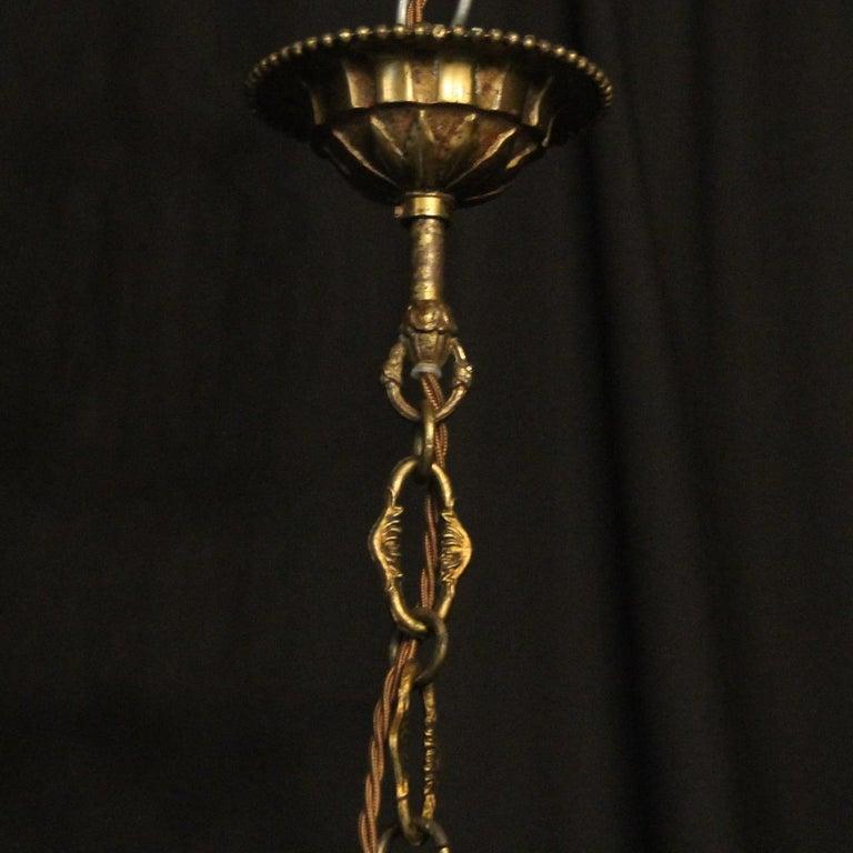 French Triple Light Bronze Convex Antique Lantern For Sale 5