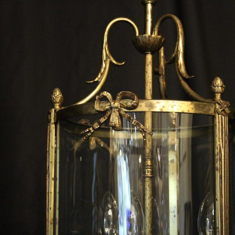 Gilt French Triple Light Bronze Convex Antique Lantern For Sale