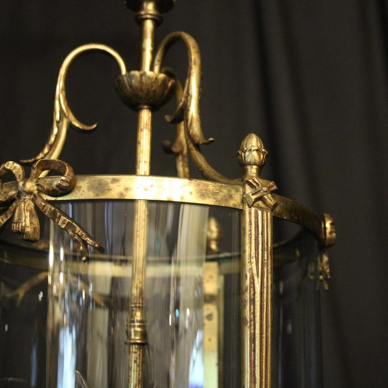 French Triple Light Bronze Convex Antique Lantern In Fair Condition For Sale In Chester, GB