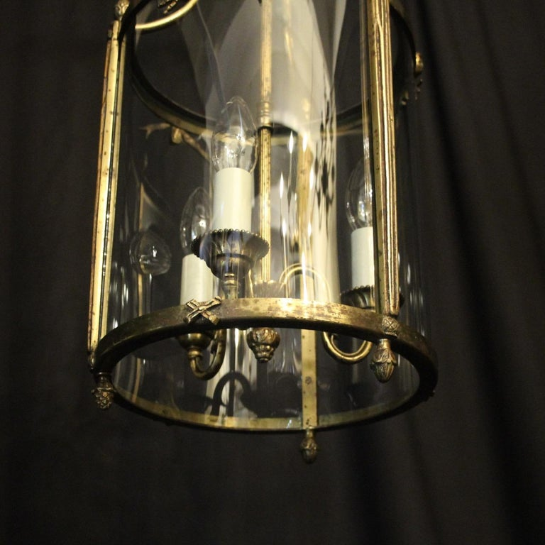 20th Century French Triple Light Bronze Convex Antique Lantern For Sale