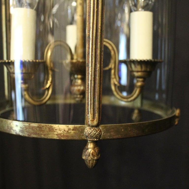 French Triple Light Bronze Convex Antique Lantern For Sale 1